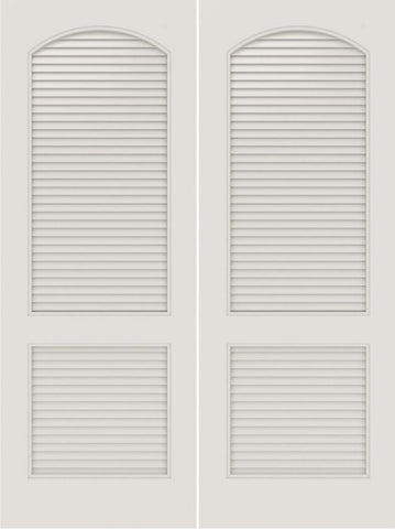 WDMA 20x80 Door (1ft8in by 6ft8in) Interior Swing Smooth SL-2020-LVR MDF 2 Panel Arch Panel Vented Louver Double Door 1