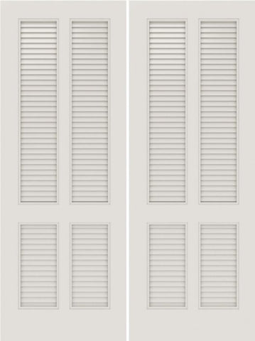 WDMA 20x80 Door (1ft8in by 6ft8in) Interior Swing Smooth SL-4010-LVR MDF 4 Panel Vented Louver Double Door 1