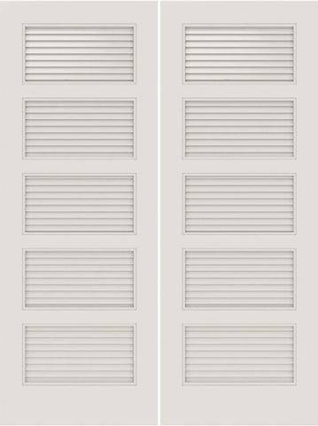 WDMA 20x80 Door (1ft8in by 6ft8in) Interior Barn Smooth SL-5100-LVR 5 Panel Vented Louver Double Door 1