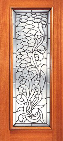 WDMA 24x80 Door (2ft by 6ft8in) Exterior Mahogany Full Lite Asymmetrical Floral Scrollwork Glass Single Door 1