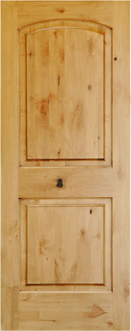 WDMA 24x96 Door (2ft by 8ft) Interior Swing Knotty Alder 96in 2 Panel Arch Single Door 1-3/8in Thick KW-121 1