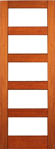 WDMA 24x96 Door (2ft by 8ft) Interior Swing Mahogany RB-04 Contemporary Clear Glass Single Door 1