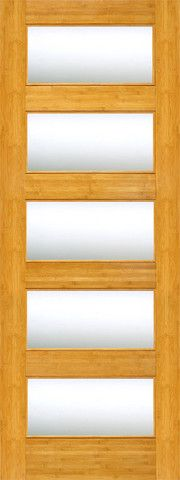 WDMA 24x96 Door (2ft by 8ft) Interior Swing Bamboo BM-16 Contemporary 5 Lite Clear Glass Single Door 1