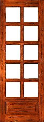 WDMA 24x96 Door (2ft by 8ft) Patio Tropical Hardwood Rustic-10-lite-P/B French Solid 1 Panel IG Glass Single Door 1