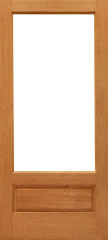 WDMA 24x96 Door (2ft by 8ft) Patio Mahogany 1-lite-P/B French Brazilian Wood 1 Panel IG Glass Single Door 1