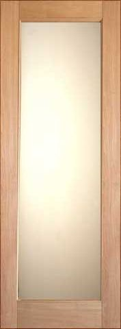 WDMA 24x96 Door (2ft by 8ft) Interior Swing Tropical Hardwood Single Door 1-Lite FG-1 White Laminated Glass 1