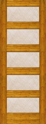 WDMA 24x96 Door (2ft by 8ft) Interior Barn Bamboo BM-15 Contemporary 5 Lite Silk Glass Single Door 1