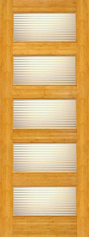 WDMA 24x96 Door (2ft by 8ft) Interior Barn Bamboo BM-14 Contemporary 5 Lite Matte Line Glass Single Door 1
