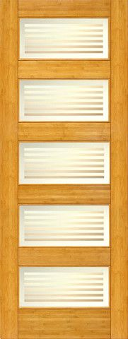 WDMA 24x96 Door (2ft by 8ft) Interior Swing Bamboo BM-12 Contemporary 5 Lite Matte Bars Glass Single Door 1