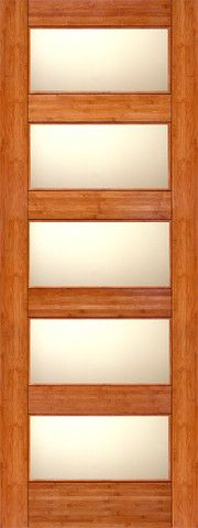 WDMA 24x96 Door (2ft by 8ft) Interior Barn Bamboo BM-11 Contemporary 5 Lite Matte Glass Single Door 1