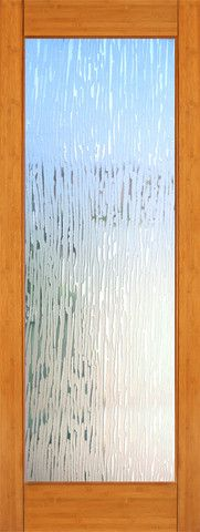 WDMA 24x96 Door (2ft by 8ft) Interior Swing Bamboo BM-37 Contemporary Full Lite Glacier Glass Single Door 1