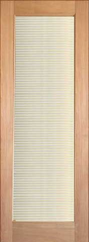 WDMA 24x96 Door (2ft by 8ft) Interior Swing Tropical Hardwood Conemporary Single Door 1-Lite FG-11 Blinds Glass 1