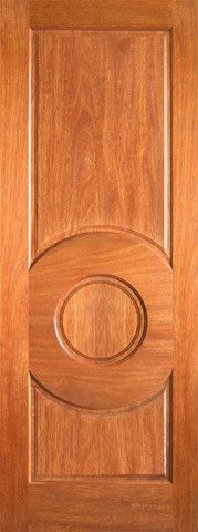 WDMA 24x96 Door (2ft by 8ft) Interior Barn Mahogany P-680 3 Panel Circle Panel Single Door 1