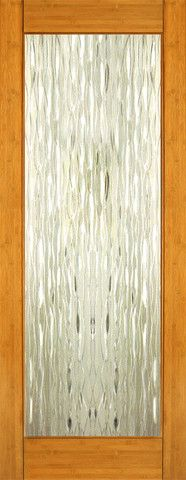 WDMA 24x96 Door (2ft by 8ft) Interior Swing Bamboo BM-33 Contemporary Waterfall Glass Single Door 1