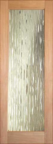 WDMA 24x96 Door (2ft by 8ft) Interior Swing Tropical Hardwood Conemporary Glass Single Door 1-Lite FG-3 Waterfall 1