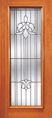 WDMA 24x96 Door (2ft by 8ft) Exterior Mahogany Tulip Design Beveled Glass Entry Door Triple Glazed Glass Option 1