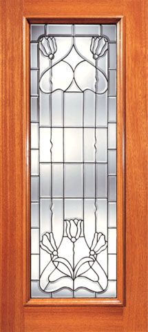 WDMA 24x96 Door (2ft by 8ft) Exterior Mahogany Full Lite Contemporary Floral Beveled Glass Front Single Door 1