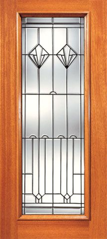 WDMA 24x96 Door (2ft by 8ft) Exterior Mahogany Full Lite Contemporary Art Deco Glass Single Door 1