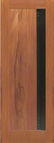 WDMA 24x96 Door (2ft by 8ft) Exterior Tropical Hardwood Flush Panel Single Door with a Contemporary Heavy Iron Handle 1