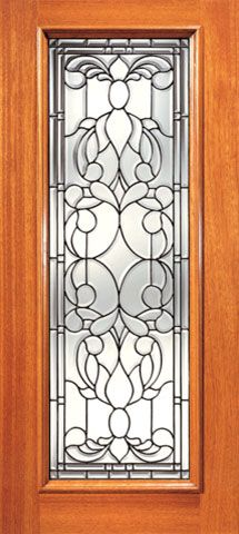 WDMA 24x96 Door (2ft by 8ft) Exterior Mahogany Full Lite Floral Scrollwork Glass Single Door 1