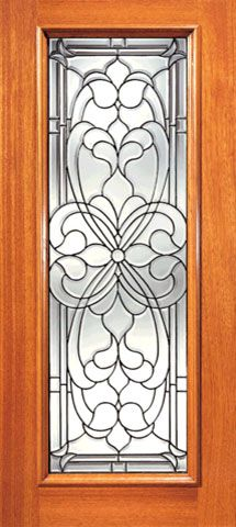 WDMA 24x96 Door (2ft by 8ft) Exterior Mahogany Floral Scrollwork Beveled Glass Front Single Door Full Lite 1