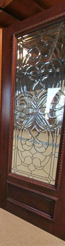 WDMA 24x96 Door (2ft by 8ft) Exterior Mahogany Floral Scrollwork Beveled Glass Front Single Door Full Lite 2