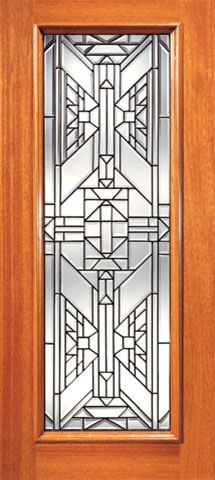 WDMA 24x96 Door (2ft by 8ft) Exterior Mahogany Ornate Design Beveled Glass Entry Door Triple Glazed Glass Option 1