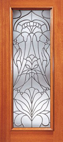 WDMA 24x96 Door (2ft by 8ft) Exterior Mahogany Floral Beveled Glass Entry Door Triple Glazed Glass Option 1