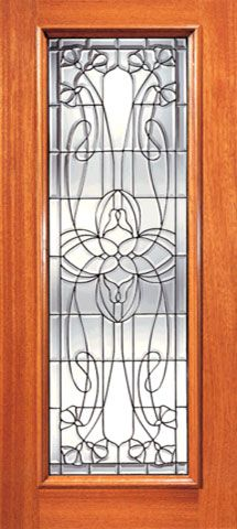 WDMA 24x96 Door (2ft by 8ft) Exterior Mahogany Full Lite Decorative Floral Beveled Glass Front Single Door 1