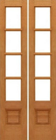 WDMA 28x80 Door (2ft4in by 6ft8in) Interior Swing Mahogany 4-lite French Door w Bottom Panel Solid Wood 1