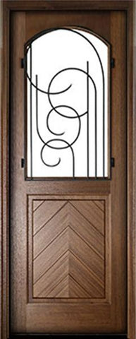 WDMA 28x96 Door (2ft4in by 8ft) Exterior Mahogany Manchester Impact Single Door w Iron #1 1
