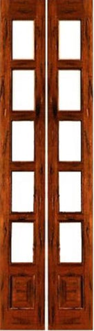 WDMA 28x96 Door (2ft4in by 8ft) Interior Swing Tropical Hardwood 5-lite French Door w Bottom Panel Rustic Solid Wood 1