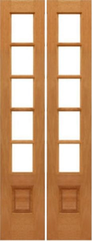 WDMA 28x96 Door (2ft4in by 8ft) Interior Barn Mahogany 5-lite French Door w Bottom Panel Solid Wood 1
