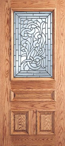 WDMA 30x80 Door (2ft6in by 6ft8in) Exterior Mahogany Asymmetrical Floral Scrollwork Glass 3-Panel 1/2 Lite Single Door 1