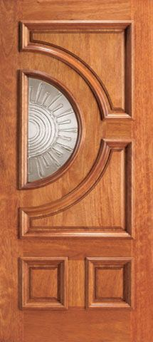 WDMA 30x80 Door (2ft6in by 6ft8in) Exterior Mahogany Front Single Door Radius Lite with Casting Glass 1