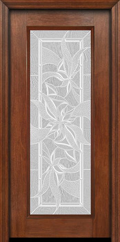 WDMA 30x80 Door (2ft6in by 6ft8in) Exterior Mahogany Full Lite Single Entry Door Impressions Glass 1