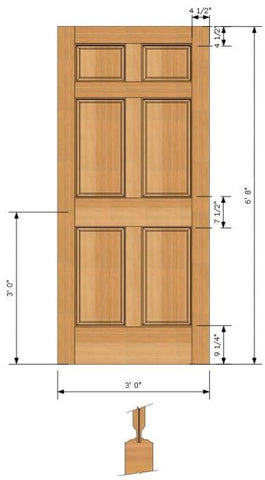 WDMA 30x96 Door (2ft6in by 8ft) Exterior Fir 96in 6 Panel Single Door 2
