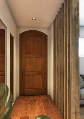 WDMA 30x96 Door (2ft6in by 8ft) Interior Swing Mahogany 3 Panel Arch Top Solid Exterior or Single Door 1