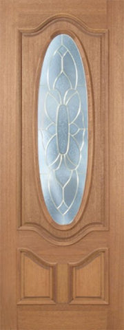 WDMA 30x96 Door (2ft6in by 8ft) Exterior Mahogany Carmel Single Door w/ BO Glass - 8ft Tall 1