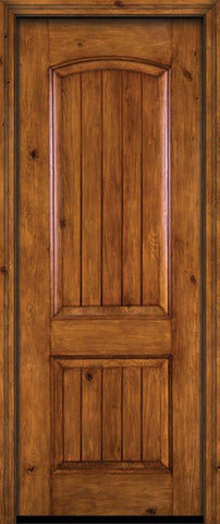 WDMA 30x96 Door (2ft6in by 8ft) Exterior Knotty Alder 96in Alder Rustic V-Grooved Panel Single Entry Door 1