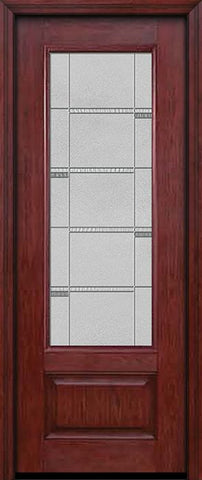 WDMA 30x96 Door (2ft6in by 8ft) Exterior Cherry 96in 3/4 Lite Single Entry Door Crosswalk Glass 1