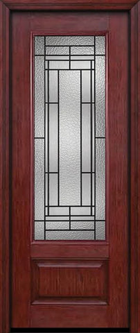 WDMA 30x96 Door (2ft6in by 8ft) Exterior Cherry 96in 3/4 Lite Single Entry Door Pembrook Glass 1