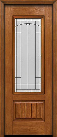 WDMA 30x96 Door (2ft6in by 8ft) Exterior Cherry 96in Plank Panel 3/4 Lite Single Entry Door Topaz Glass 1