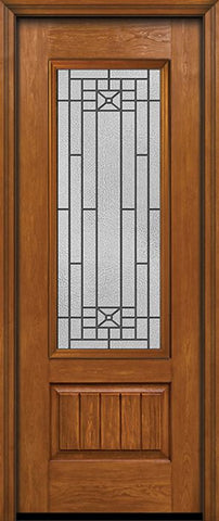 WDMA 30x96 Door (2ft6in by 8ft) Exterior Cherry 96in Plank Panel 3/4 Lite Single Entry Door Courtyard Glass 1