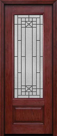 WDMA 30x96 Door (2ft6in by 8ft) Exterior Cherry 96in 3/4 Lite Single Entry Door Courtyard Glass 1