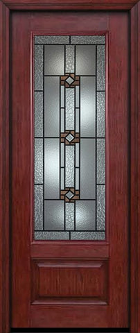 WDMA 30x96 Door (2ft6in by 8ft) Exterior Cherry 96in 3/4 Lite Single Entry Door Mission Ridge Glass 1