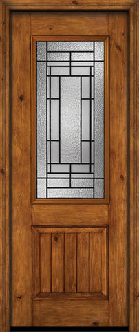 WDMA 30x96 Door (2ft6in by 8ft) Exterior Knotty Alder 96in Alder Rustic V-Grooved Panel 2/3 Lite Single Entry Door Pembrook Glass 1