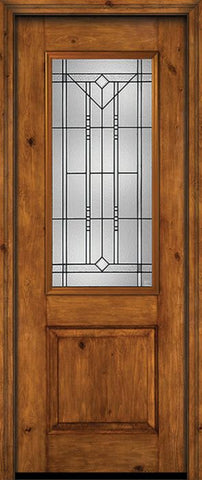 WDMA 30x96 Door (2ft6in by 8ft) Exterior Knotty Alder 96in Alder Rustic Plain Panel 2/3 Lite Single Entry Door Riverwood Glass 1
