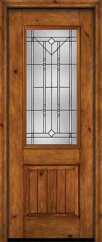 WDMA 30x96 Door (2ft6in by 8ft) Exterior Knotty Alder 96in Alder Rustic V-Grooved Panel 2/3 Lite Single Entry Door Riverwood Glass 1