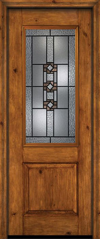 WDMA 30x96 Door (2ft6in by 8ft) Exterior Knotty Alder 96in Alder Rustic Plain Panel 2/3 Lite Single Entry Door Mission Ridge Glass 1